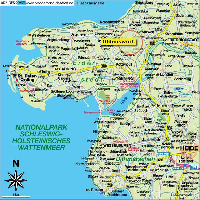 karte nordfriesland Karte Von Nordfriesland | Deutschland Karte